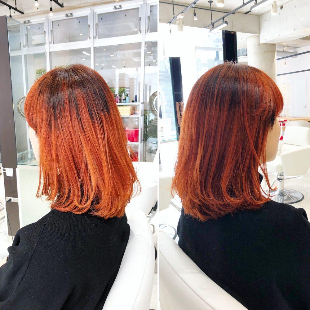 バレイヤージュでオレンジカラー!