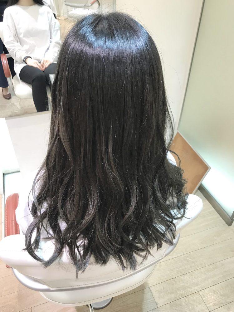 お客様Style  〜暗髪でも映えるシアーグレージュ〜