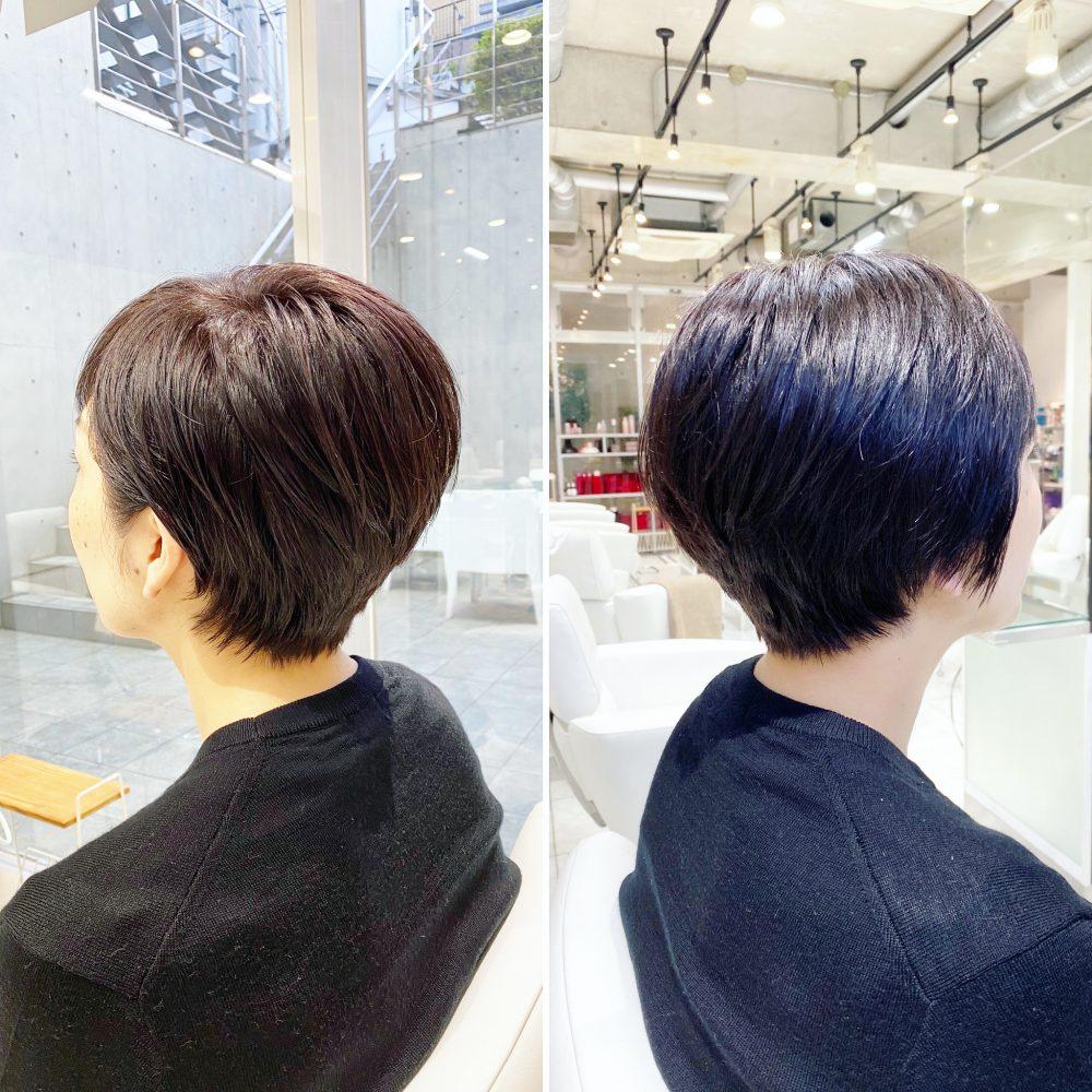 暗髪でしっとりのコンパクトショートヘア!